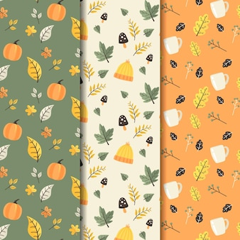 Collection de motifs d'automne plat