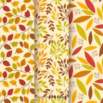 Collection de motifs d'automne plats