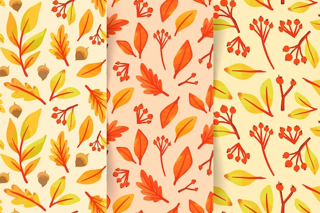 Collection de motifs d'automne