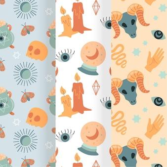 Collection de motifs boho dessinés à la main