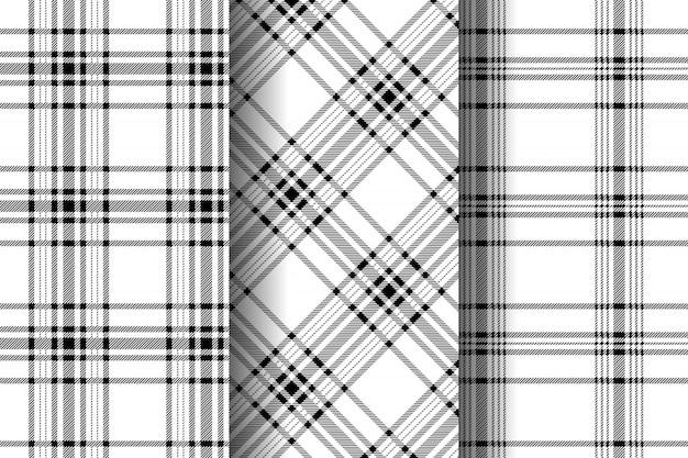 Collection de motifs à carreaux tartan sans couture répétition noir et blanc