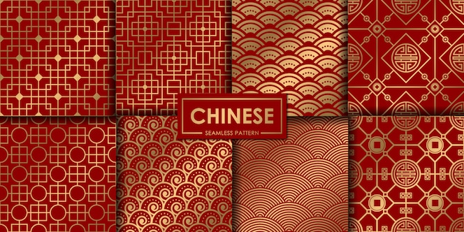 Collection de motifs chinois dorés