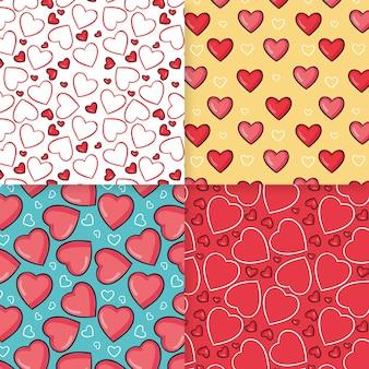 Collection de motifs de coeur dessinés à la main