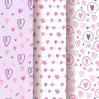 Collection de motifs coeur dessinés à la main