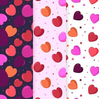 Collection de motifs de coeur plat