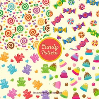 Collection de motifs colorés avec des bonbons délicieux