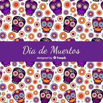 Collection de motifs colorés día de muertos avec design plat