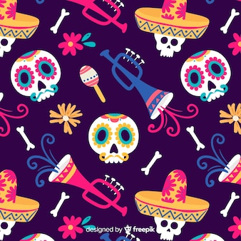 Collection de motifs colorés día de muertos avec design plat