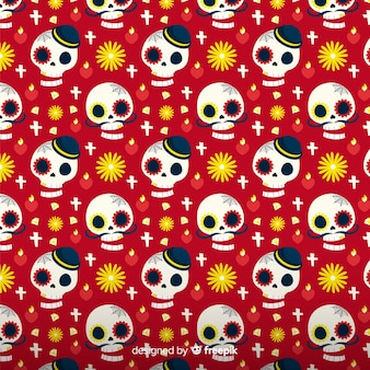Collection de motifs colorés día de muertos dessinés à la main