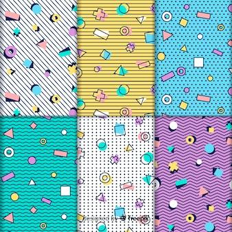 Collection de motifs colorés memphis
