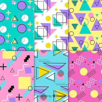 Collection de motifs colorés de memphis