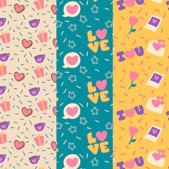 Collection de motifs colorés pour la saint-valentin