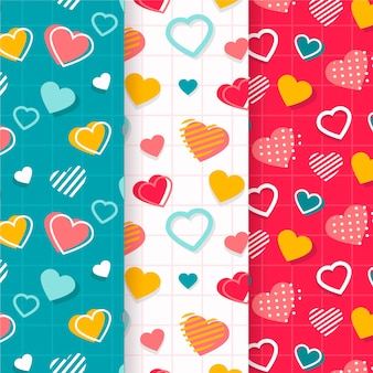 Collection de motifs colorés pour la saint-valentin