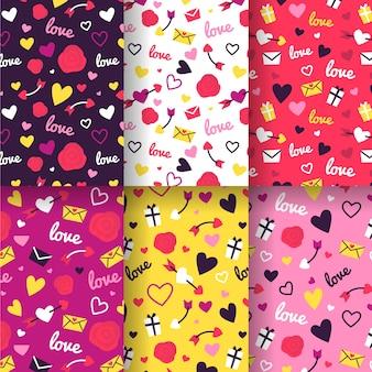 Collection de motifs colorés de la saint-valentin au design plat