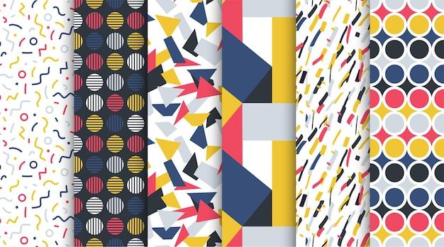 Collection de motifs colorés sans couture à la mode abstrait arrière-plans rétro style des années 8090