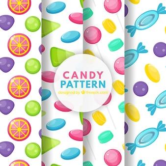 Collection de motifs délicieux bonbons dans un style plat