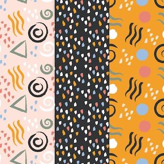 Collection de motifs dessinés à la main de conception abstraite