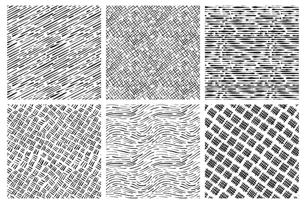 Collection de motifs dessinés à la main de gravure