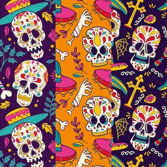 Collection de motifs dia de muertos dessinés à la main