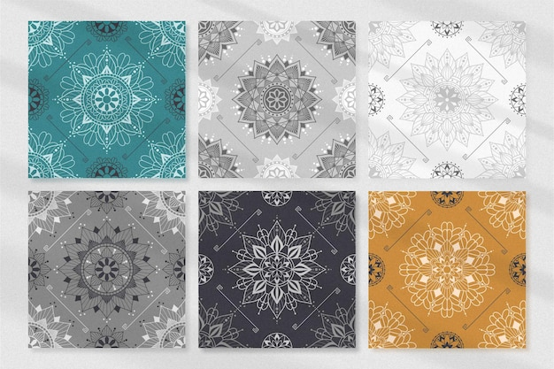 Collection de motifs dornement mandala vintage dessinés à la main