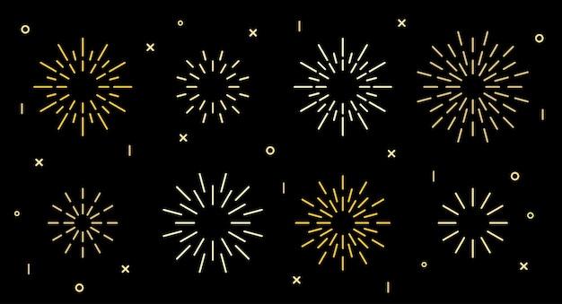 Collection de motifs d'éclatement de feux d'artifice art déco en forme d'étoile scintillante. motif pétard en forme d'étoile dorée