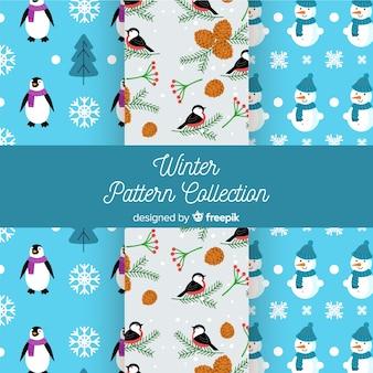 Collection de motifs d'éléments hiver