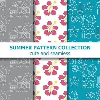Collection de motifs d'été. bannière d'été. vecteur