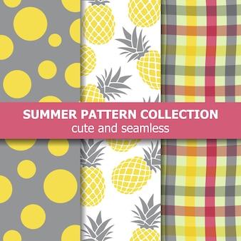 Collection de motifs d'été exotique. thème ananas.