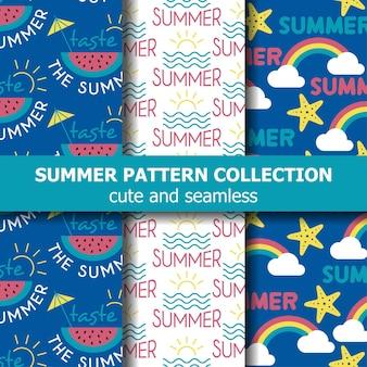 Collection de motifs d'été frais. bannière d'été. vacances d'été. vecteur