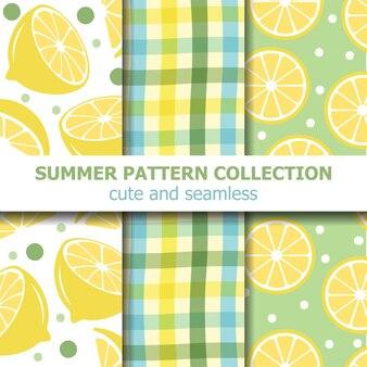 Collection de motifs d'été frais. thème citron.
