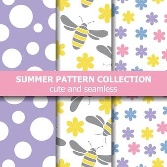 Collection de motifs d'été joyeux. thème des abeilles.