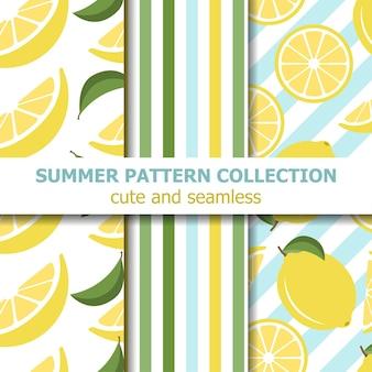 Collection de motifs d'été juteux. thème citron.