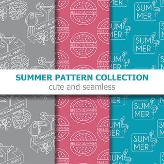 Collection de motifs d'été moderne. bannière d'été. vacances d'été. vecteur
