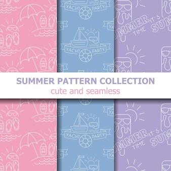 Collection de motifs d'été pastel. bannière d'été. vacances d'été. vecteur