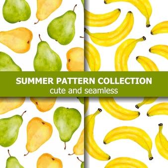 Collection de motifs d'été avec poires et bananes à l'aquarelle. bannière d'été. vecteur