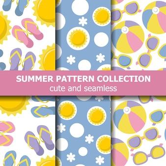 Collection de motifs d'été avec thème de plage.