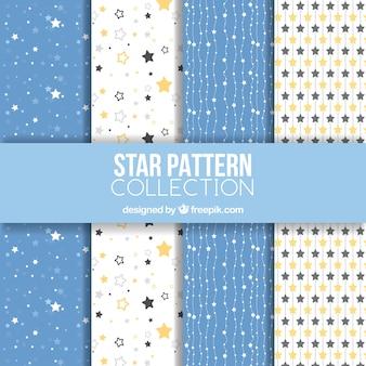 Collection de motifs d'étoiles blanches et bleues