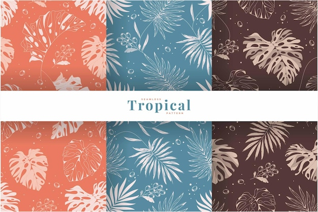 Collection de motifs de feuilles tropicales vintage dessinés à la main