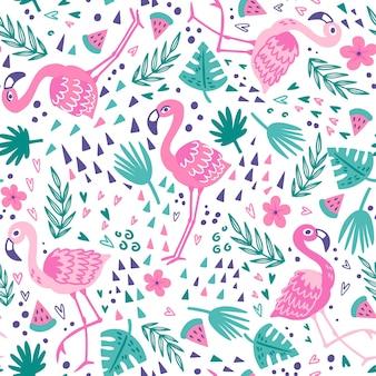 Collection de motifs flamingo
