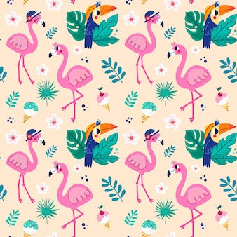Collection de motifs flamingo