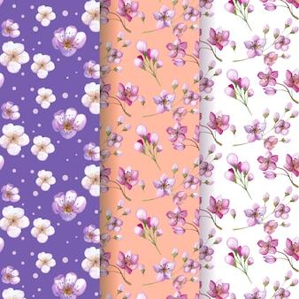 Collection de motifs de fleurs de cerisier aquarelle
