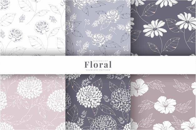 Collection de motifs de fleurs dessin à la main