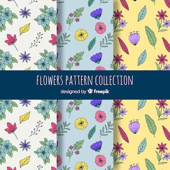 Collection de motifs de fleurs dessinés à la main