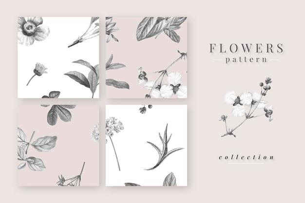 Collection de motifs de fleurs épanouies