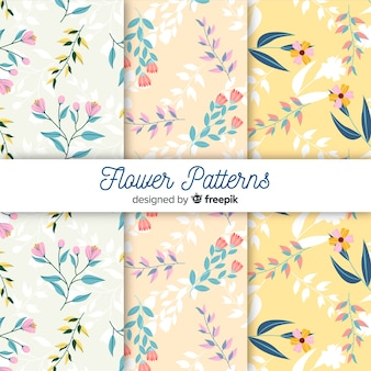 Collection de motifs de fleurs et feuilles plates
