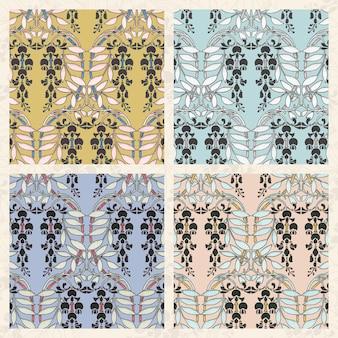 Collection de motifs de fleurs de glycine art nouveau