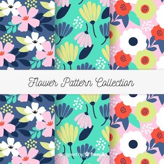 Collection de motifs de fleurs plates