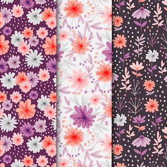 Collection de motifs floraux aquarelles abstraites