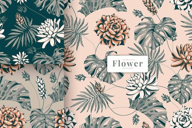 Collection de motifs floraux de belle couleur pastel dessinés à la main