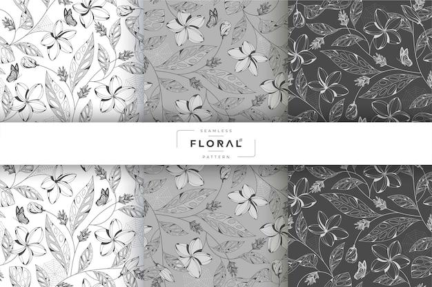 Collection de motifs floraux minimalistes en niveaux de gris
